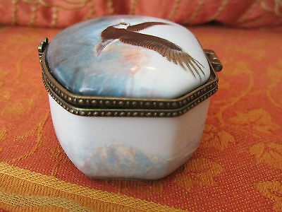 Eagle Soaring Flying Porcelain Trinket Box Janene Grende Wild Wings
