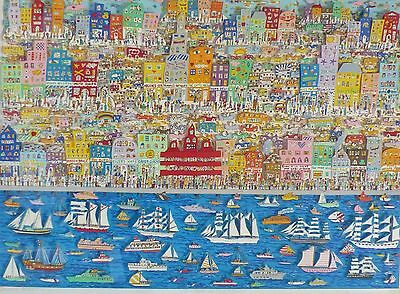 James Rizzi On the Waterfront Hand Signed 121/175 3-D Large 1987 Framed Pop Art
