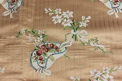 Antique French 19thC Silk Brocade Fabric~Victorian Baskets~Woven On 18thC Looms