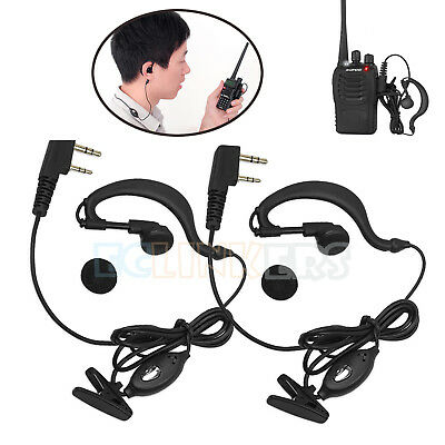 2Pcs Security G-Shape Headset/Earpiece Mic For Baofeng Radio Walkie Talkie 2 Pin