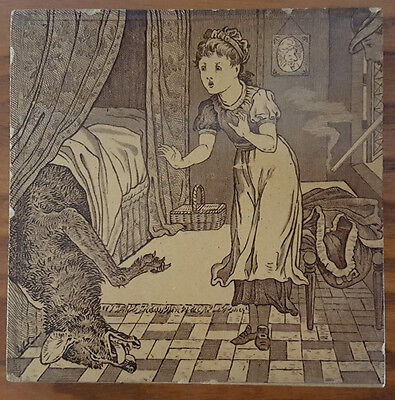 """Antique Wedgwood 6"""" Tile. Little Red Riding Hood"""