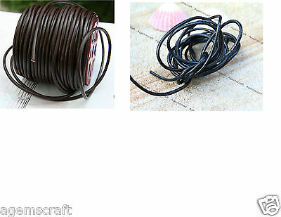 4mm Brown or 3.5mm Black Round Leather Cord per meter cut to order, brand new