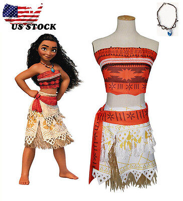 Girl Women Movie Polynesia princess Moana Cosplay Costume Dress halloween 110CM