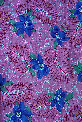 WONDERFUL Vintage FEED SACK Fabric, VIBRANT FLOWERS in PINK, BLUE, RED + more