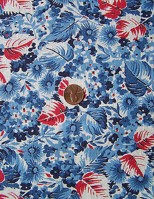Vintage FEED SACK Fabric, Lots of BLUE FLOWERS with RED, WHITE & BLUE Leaves