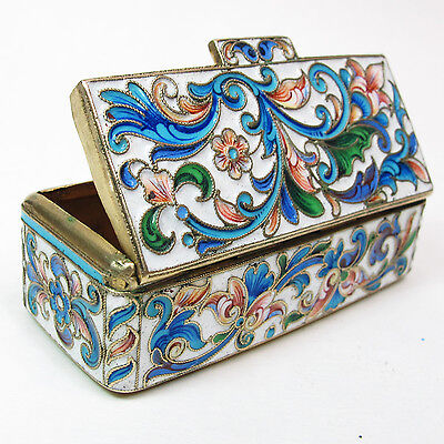 Antique Russian 84 Silver Shaded Enamel Box