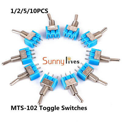 1/2/5/10pcs Mini ON-ON MTS-102 3-Pin SPDT125V AC 6A Miniature Toggle Switches