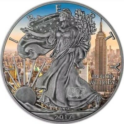 2017 1 Oz Silver ANTIQUE FINISH EMPIRE STATE EAGLE  Coin..