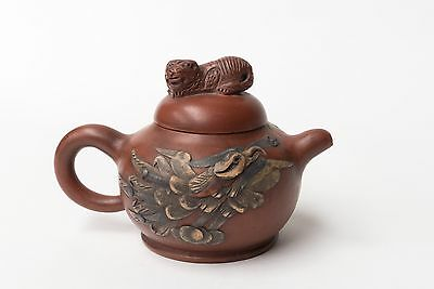 Vintage Zisha Yixing Teapot with Dragons