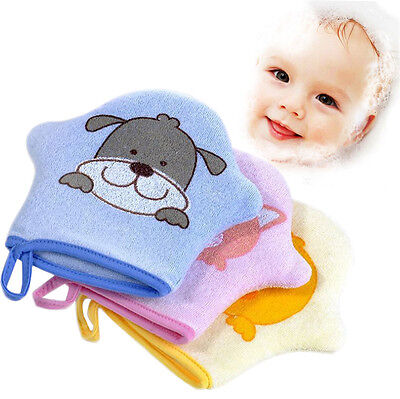 Baby Bath Towel Shower Sponge Cartoon Soft Cotton Brush Rubbing Kids Towel