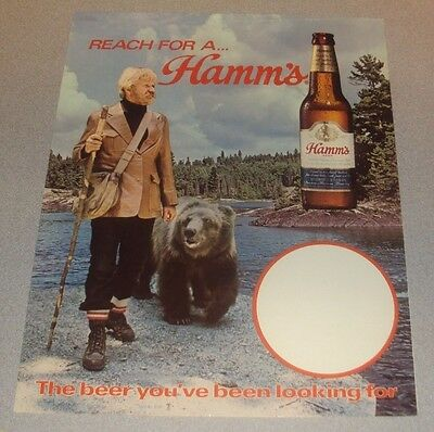 vintage nos hamms beer cardboard display sign