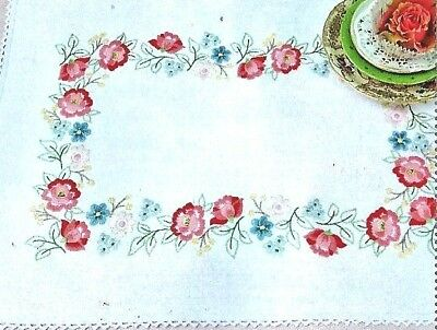 """FLORAL RHAPSODY "" 30 X 50CM Doiley /mat KIT to embroider.Stamped 100% cotton  ."