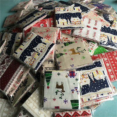 20PC/BAG Fabric Bundle Cotton Patchwork Sewing Tissue Cloth Merry Christmas Xmas