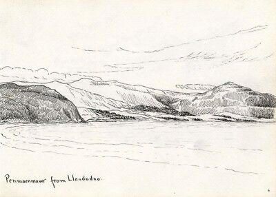 H. Ratcliffe, Penmaenmawr from Llandudno - Early 20th-century pen & ink drawing