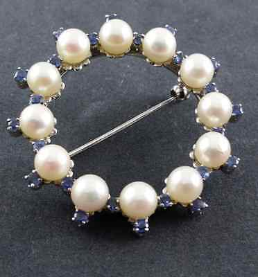 Sapphire gold brooch - 750 White-Gold - Freshwater Pearl - 24 Sapphire