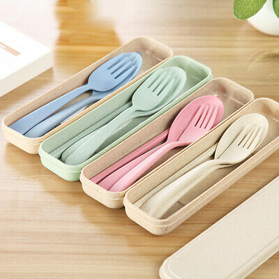 New 1Set Reusable Spoon Fork Travel Chopsticks Wheat Straw Tableware Cutlery