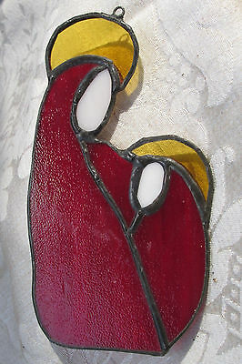 Stained Glass Mother Mary MAdonna & Child Baby Jesus Abstract Suncatcher 13CmL