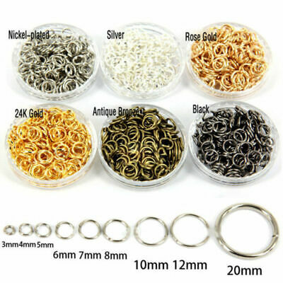 500pcs Open Jump Rings Silver 4-20mm Round Oval Jewelry Making Finding