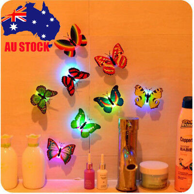 Colorful Changing Butterfly LED Night Light Lamp Kids Room Party Wall Decor HOT
