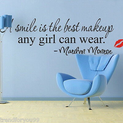 "NEW 1Sheet Home Wall Sticker ""A Smile Is The Best Makeup Marilyn Monroe"" Decal"