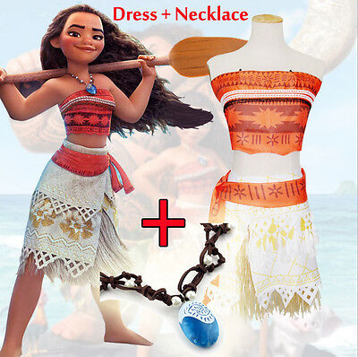 Women Girl Animie Movie Polynesia Princess Moana Cosplay Costume Dress Halloween