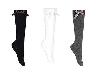 Girls Knee High Socks Matching Silky Ribbon Bow Colour & Size Range Available