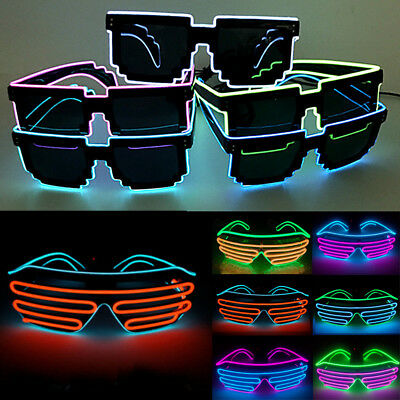 Colorful Glow Shutter Shades LED Glasses Frame Flashing Light Up Club Rave Party