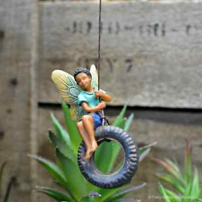 Fairy on a Tire Swing Fairy cottage Home Garden Craft Décor