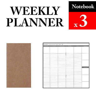 3 x Notebook Weekly Planner Refills Vintage Travel Journal Notebook Paper Diary