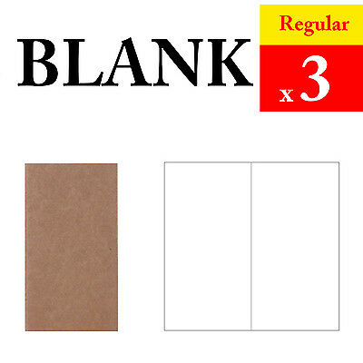 3 x Regular Blank Refills Vintage Travel Journal Notebook Paper Diary