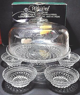 Vtg Wexford Footed Cake Dome Stand / Punch Bowl Bonus Fruit Bowls Anchor Hocking