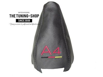 "For Audi A4 B6 01-04 Gear Boot Black Genuine Leather ""A4 German"" Embroidery"