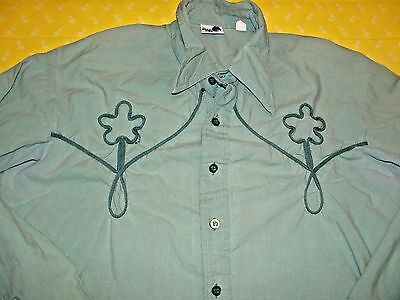 Vtg. Men's Shirt Bold One by Andhurst Green Button Front Cotton Rockabilly Camp