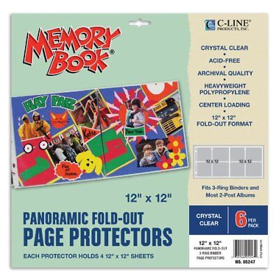 C-Line Memory Book Panoramic Fold-Out Scrapbook Page Protectors, Center Loading,