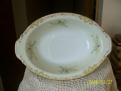 Royal Derby Vintage Oblong Vegetable Serving Bowl Tan & Green Floral Spray