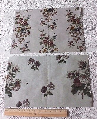 2 Antique French 1860-70 Victorian Wallpaper Or Chintz HandBlocked Paper Samples