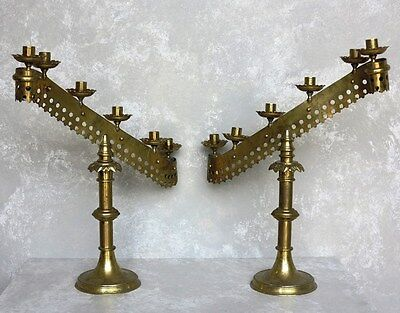 Pair of Solid Brass Victorian Candlesticks - Antique Decorative