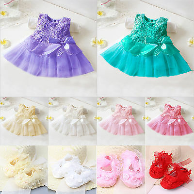 Infant Baby Girl Princess Party Tutu Dress Lace Flower Prewalker Soft Crib Shoes