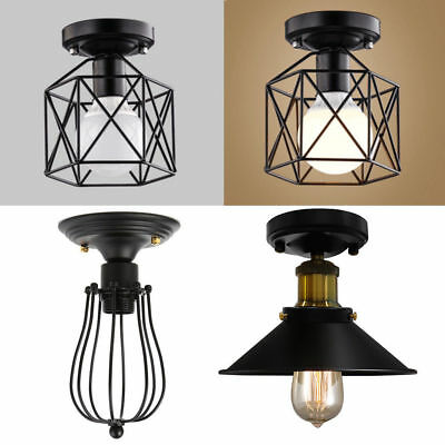 Industrial Vintage Metal Cage Pendant Lamp Semi Flush Mount Ceiling Light Shade