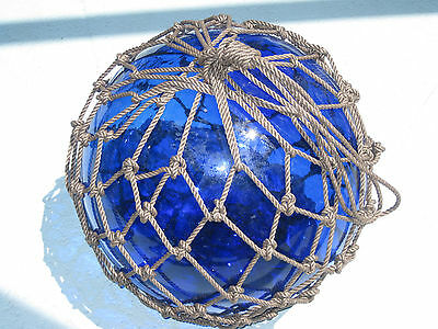 Japanese Glass Fish Net Float - Cobalt Blue -HUGE