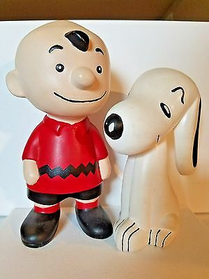 "Vintage CHARLIE BROWN & SNOOPY Ceramic Figures - Approx 9.25"" & 7.25"" hand paint"