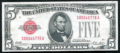 1928 $5 Five Dollars Red Seal Legal Tender United States Note Au