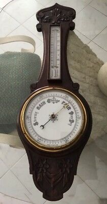 """Antique English Oak """"Banjo"""" Barometer and Thermometer 19th Century"""