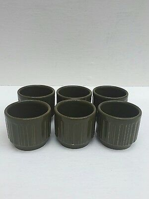 Biltons Staffordshire Made In  England X 6 Vintage Retro Green Eggs Cups