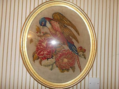 Beautiful Victorian c1880 plush work and needlepoint tapestry bird picture