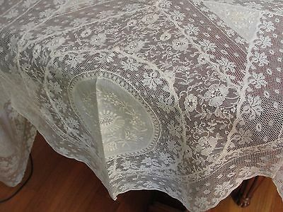 "Stunning antique French Normandy Lace Off White Table cloth.1900. 100""x 75""."