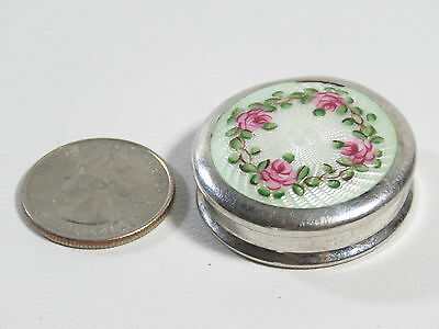 """CUTE Sterling GUILLOCHE Miniature PILL BOX White with Flowers 1 5/16"""""""