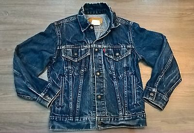 Levis Jean Jacket Kids Youth size 12 Vintage Distress Made in Canada Cool Rugged
