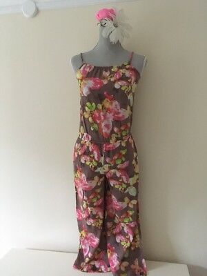 Next age 10 Jump Suit Play Suit Trouser Suit All In One Brown Floral Girls