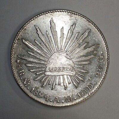 1894 Mo AM Mexico Cap & Rays Silver 8 Reales, KM#377.10, AU